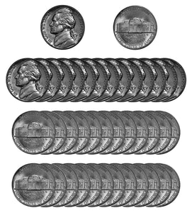 1958 D Jefferson Nickel Choice/Gem BU Roll (40 Coins)
