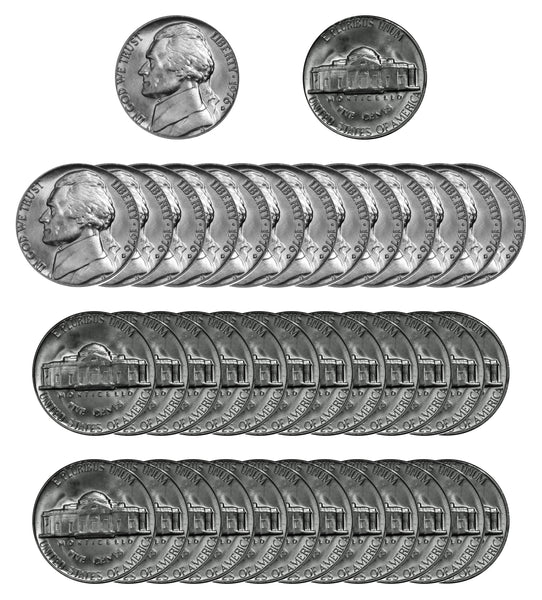 1976 D Jefferson Nickel Choice/Gem BU Roll (40 Coins)
