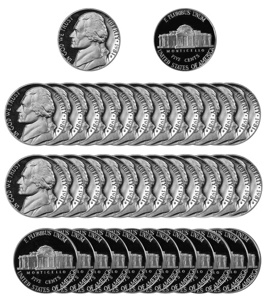 1981 Jefferson Nickel Gem Deep Cameo Proof Roll (40 Coins) Type 2 Clear S