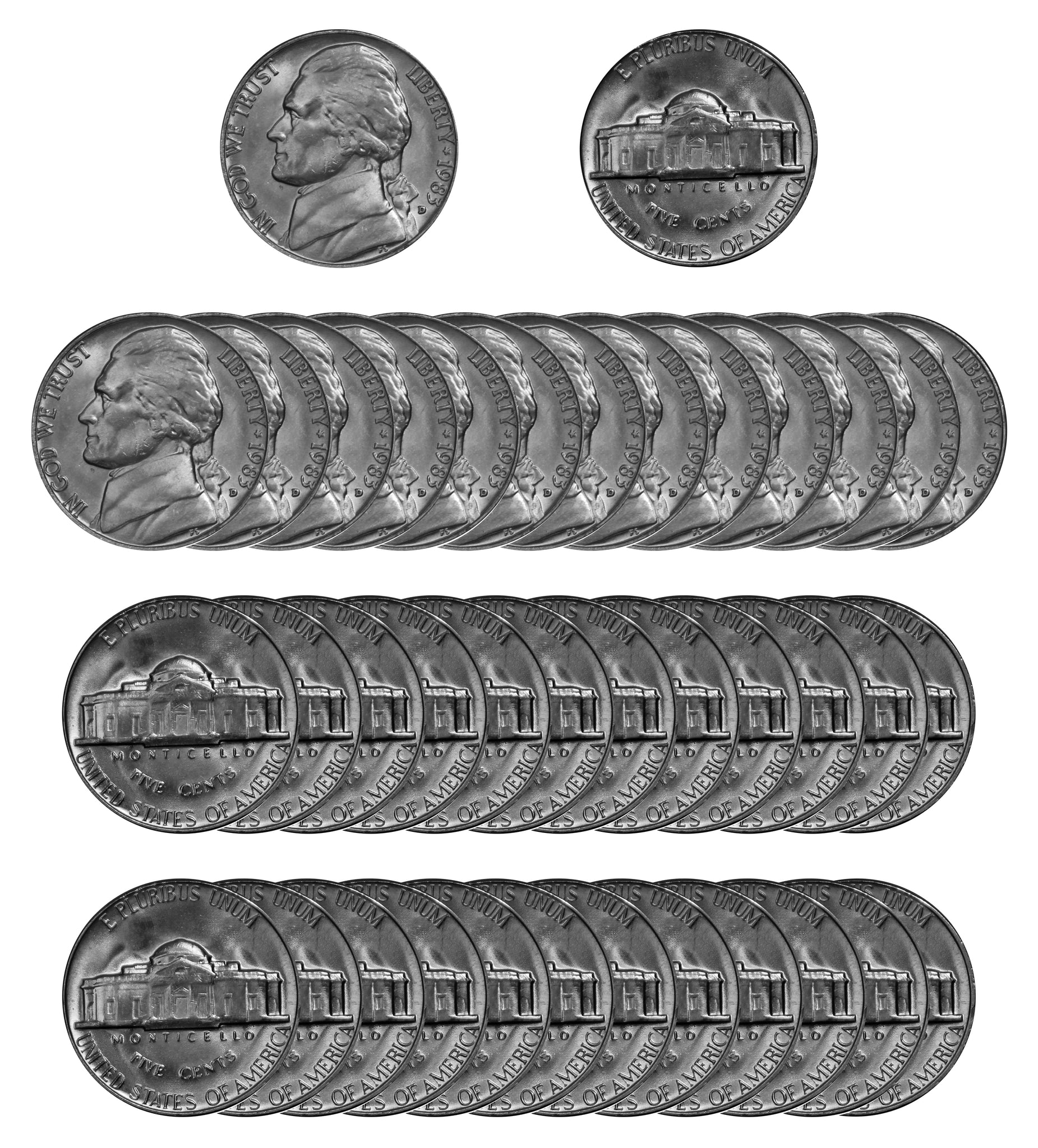 1983 D Jefferson Nickel Choice/Gem BU Roll (40 Coins)