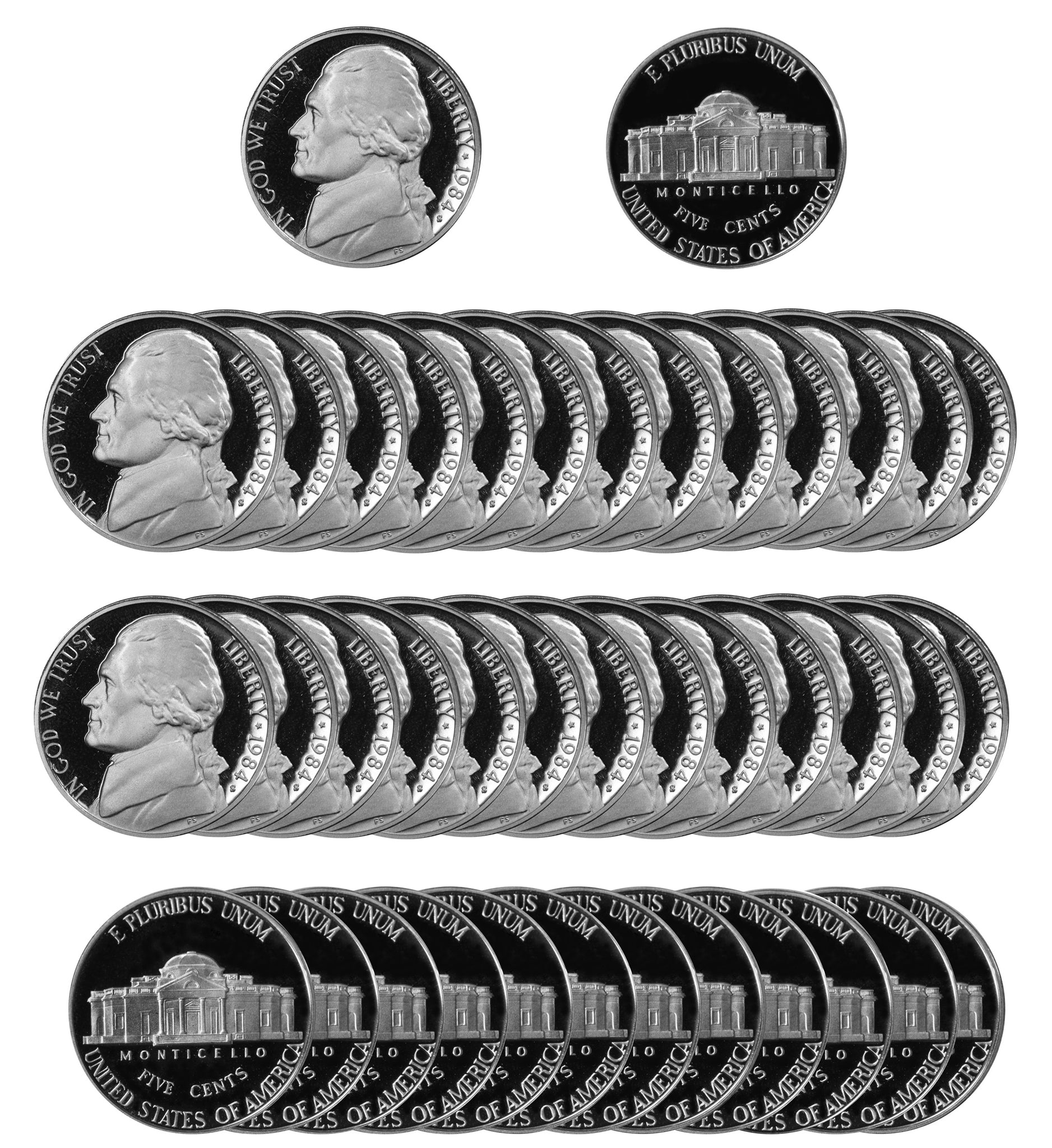 1984 S Jefferson Nickel Gem Proof Roll (40 Coins)