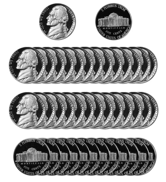 1986 S Jefferson Nickel Gem Proof Roll (40 Coins)
