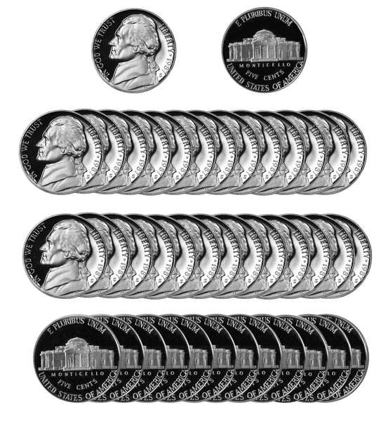 1987 S Jefferson Nickel Gem Proof Roll (40 Coins)