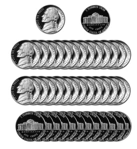 1988 S Jefferson Nickel Gem Proof Roll (40 Coins)