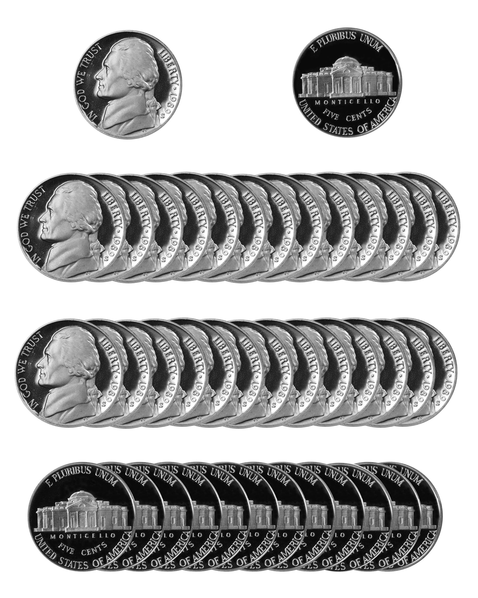 1989 S Jefferson Nickel Gem Proof Roll (40 Coins)