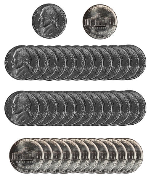 1996 P Jefferson Nickel Choice/Gem BU Roll (40 Coins)