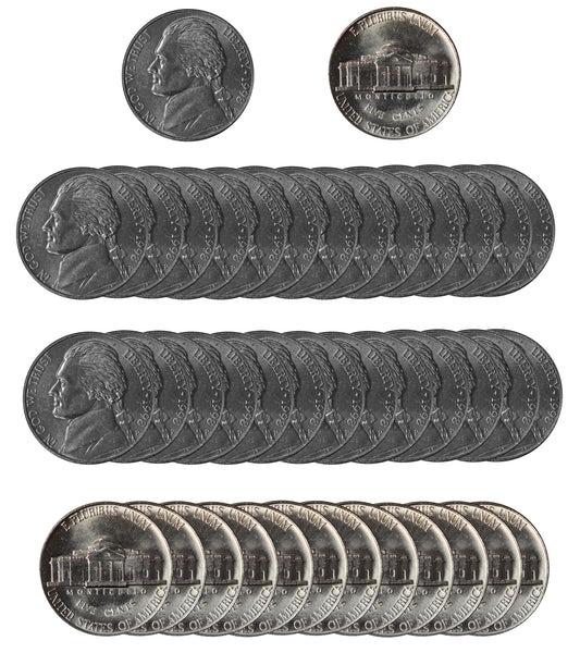 1998 P Jefferson Nickel Choice/Gem BU Roll (40 Coins)