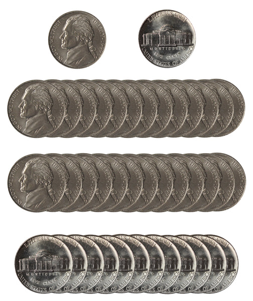 1999 D Jefferson Nickel Choice/Gem BU Roll (40 Coins)