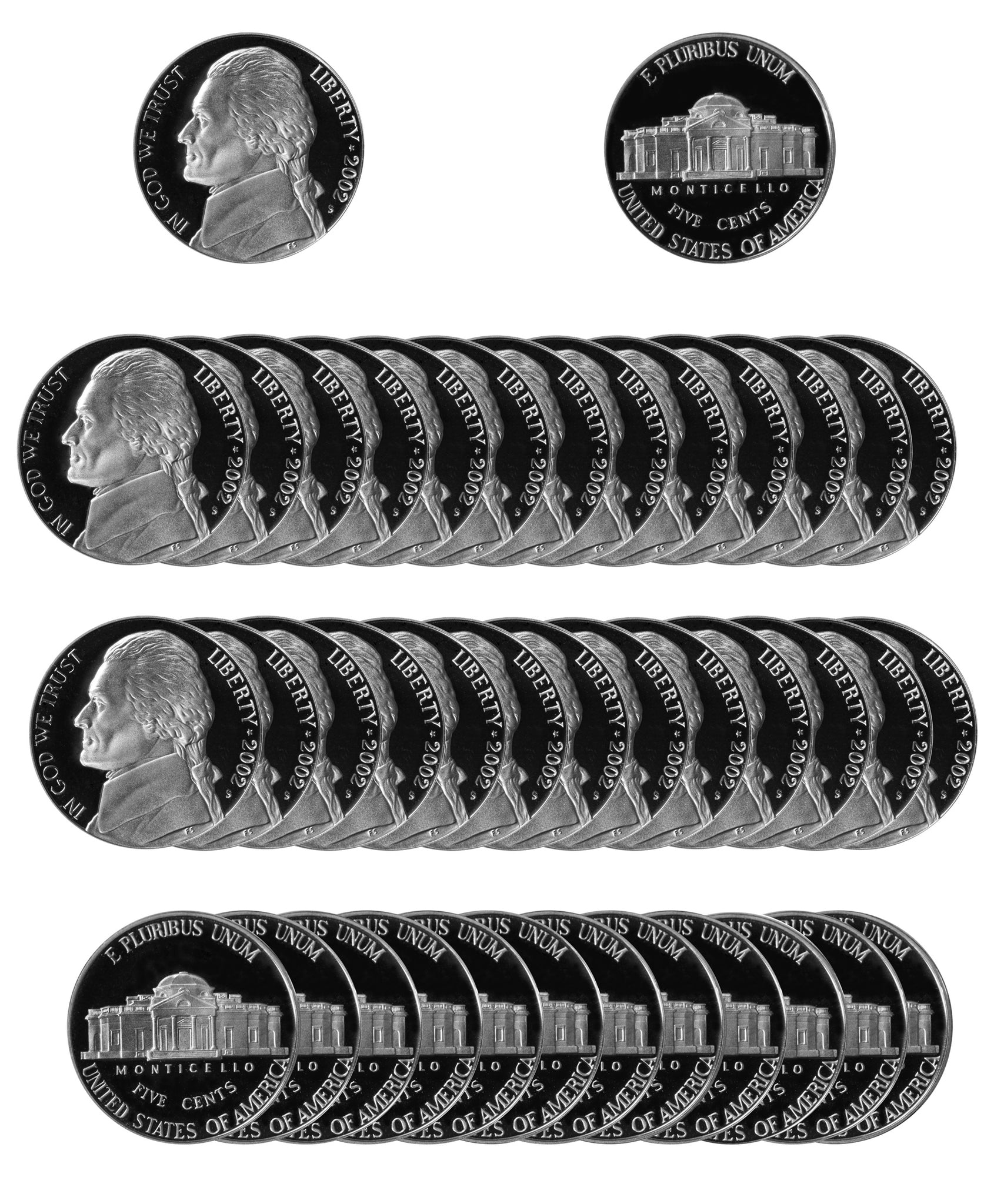 2002 S Jefferson Nickel Gem Proof Roll (40 Coins)