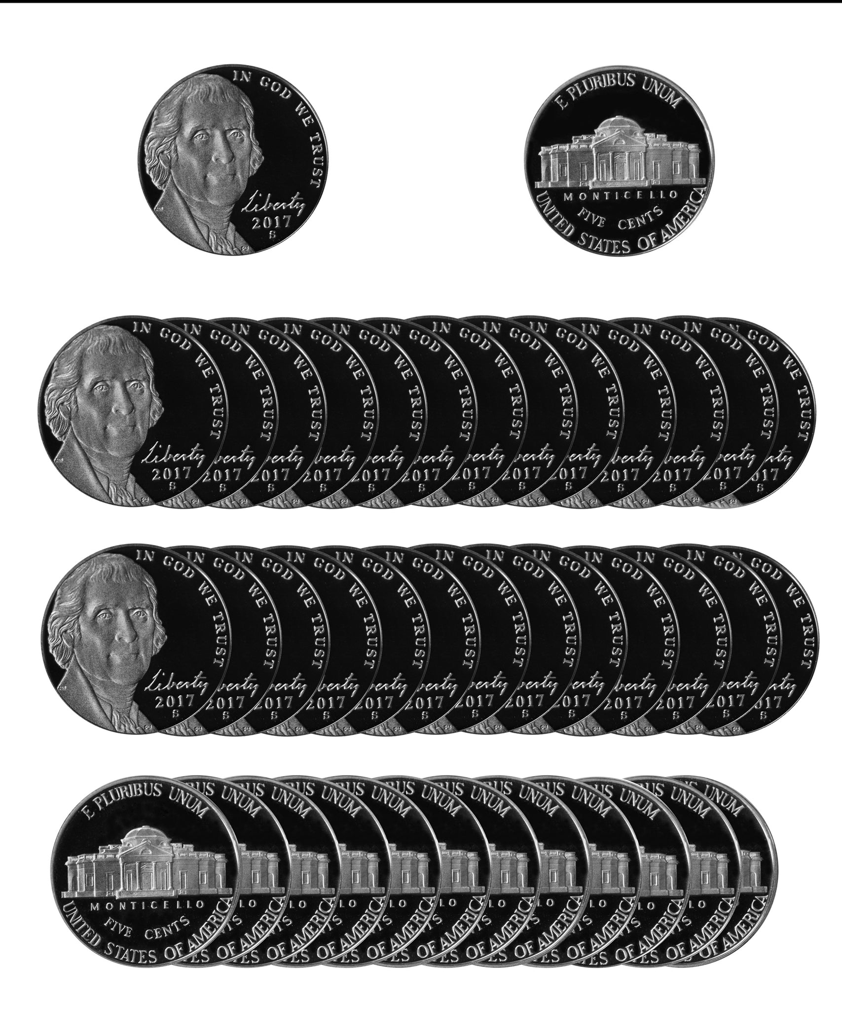 2017 S Jefferson Nickel Gem Proof Roll (40 Coins)