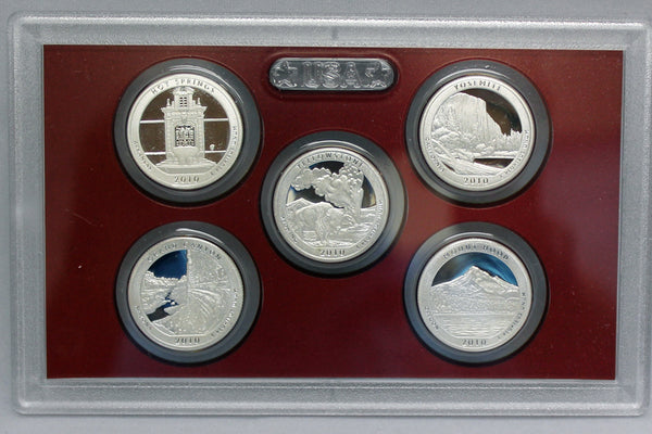 2010 America the Beautiful Quarter Proof Set 90% Silver (OGP) 5 coins