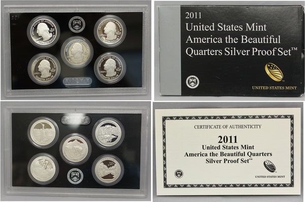 2011 America the Beautiful Quarter Proof Set 90% Silver (OGP) 5 coins