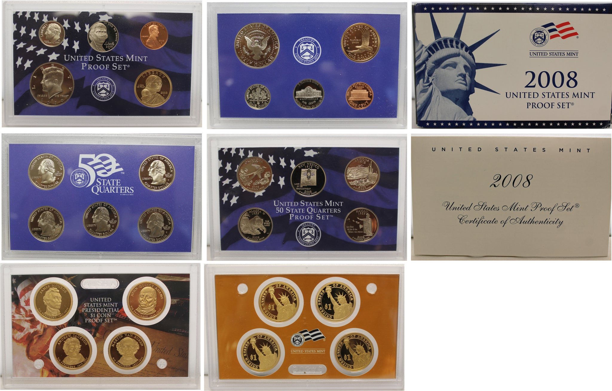 2008 Proof set 10 Pack CN-Clad Kennedy, Presidential Dollar, State quarters OGP 140 coins