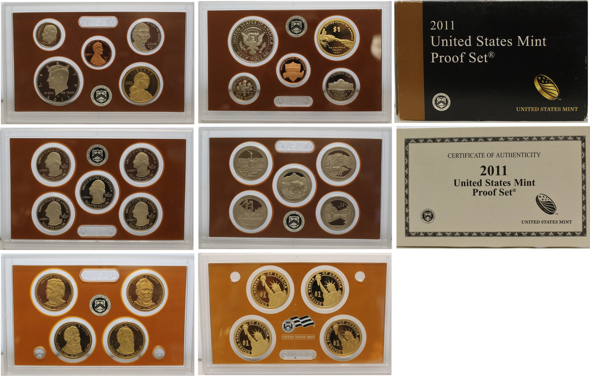 2011 Proof set 10 Pack CN-Clad Kennedy, Presidential Dollar, State quarters OGP 140 coins