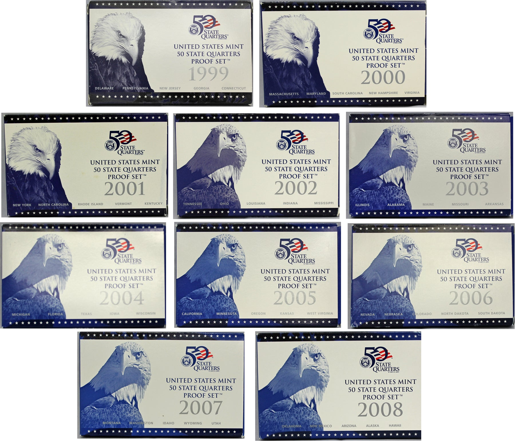 1999-2008 S Proof State Quarter Set Run CN-Clad 50 Coins