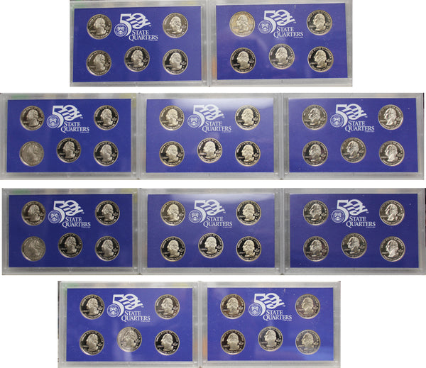 1999-2008 S Proof State Quarter Set Run CN-Clad in Lenses No Boxes or COAs 50 Coins