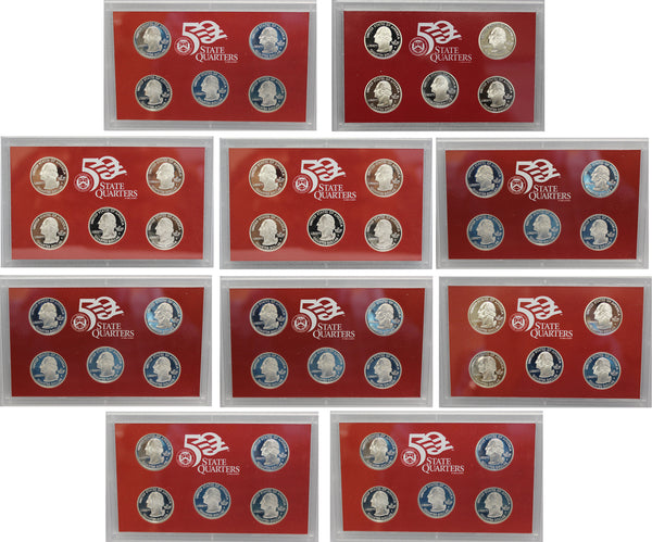 1999-2008 S Proof State Quarter Set Run 90% Silver in Lenses No Boxes or COAs  50 Coins