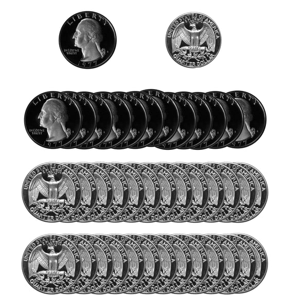 1977 S Washington Quarter Gem Deep Cameo Proof Roll CN-Clad (40 Coins)