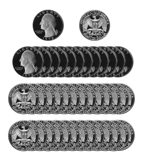 1978 S Washington Quarter Gem Deep Cameo Proof Roll CN-Clad (40 Coins)