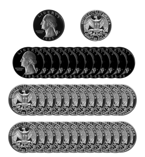 1986 S Washington Quarter Gem Deep Cameo Proof Roll CN-Clad (40 Coins)