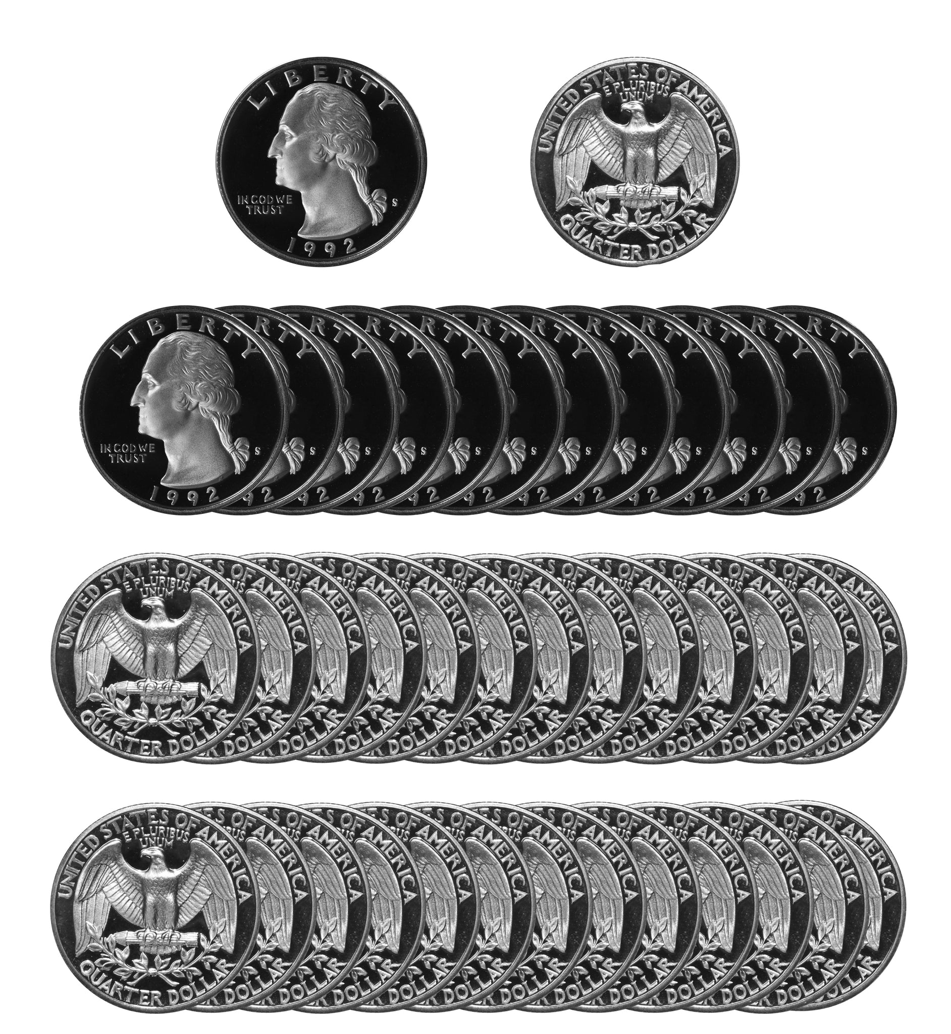 1992 S Washington Quarter Gem Deep Cameo Proof Roll 90% Silver (40 Coins)