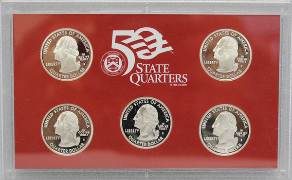 2008 State Quarter Proof Set 90% Silver (OGP) 5 coins