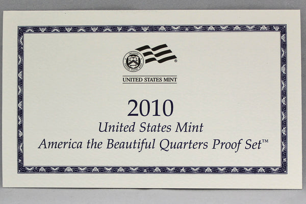2010 America the Beautiful Quarter Proof Set CN-Clad (OGP) 5 coins