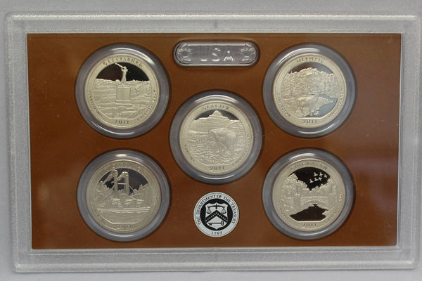 2011 America the Beautiful Quarter Proof Set CN-Clad (OGP) 5 coins