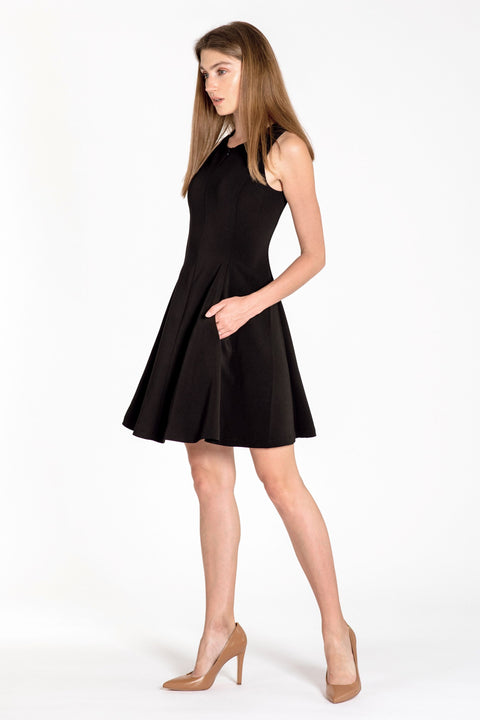 Sleeveless zip-front fit & flare dress - side view black 2