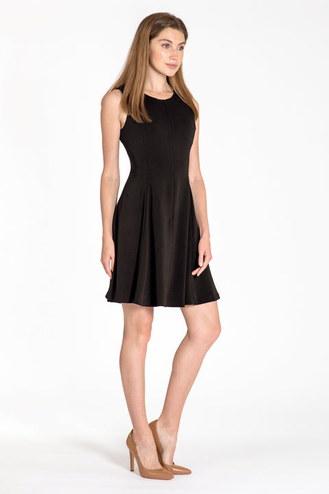 Sleeveless zip-front fit & flare dress - side view black