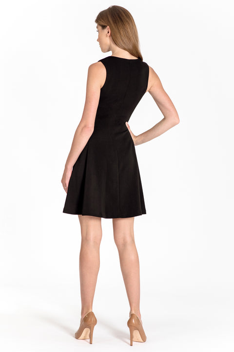 Sleeveless zip-front fit & flare dress - back view black