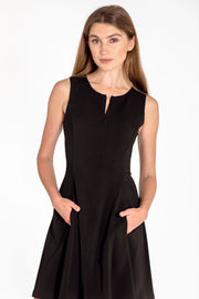 Sleeveless zip-front fit & flare dress - front view black