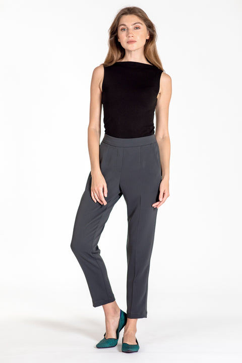 Comfortable pull-on relaxed slim leg pants - front view charcoal