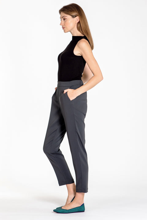 Comfortable pull-on relaxed slim leg pants - side view charcoal