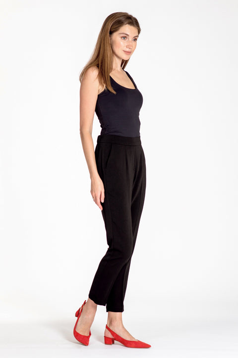 Comfortable pull-on relaxed slim leg pants - side view black