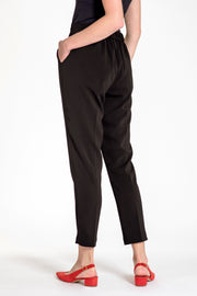 Comfortable pull-on relaxed slim leg pants - back view black