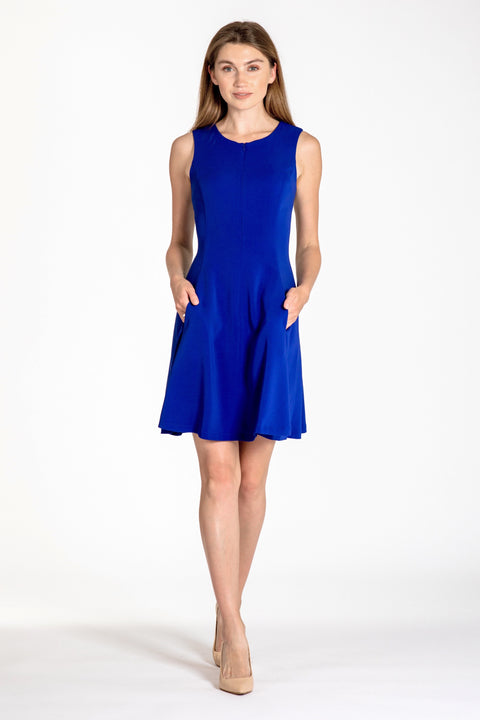 Sleeveless zip-front fit & flare dress - front view royal blue