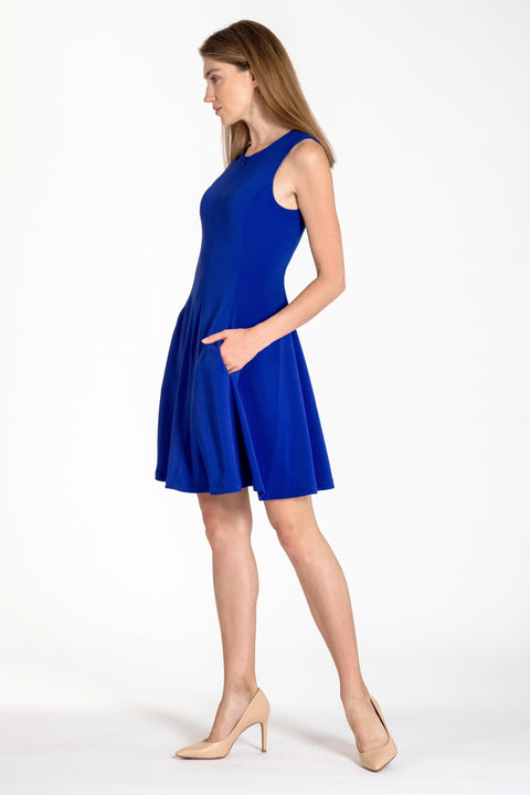 Sleeveless zip-front fit & flare dress - side view royal blue
