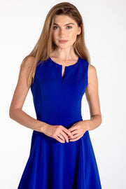 Sleeveless zip-front fit & flare dress - front view royal blue 2