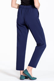 Comfortable pull-on relaxed slim leg pants - back view navy