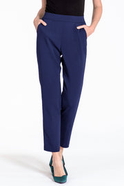 Comfortable pull-on relaxed slim leg pants - front view navy 2