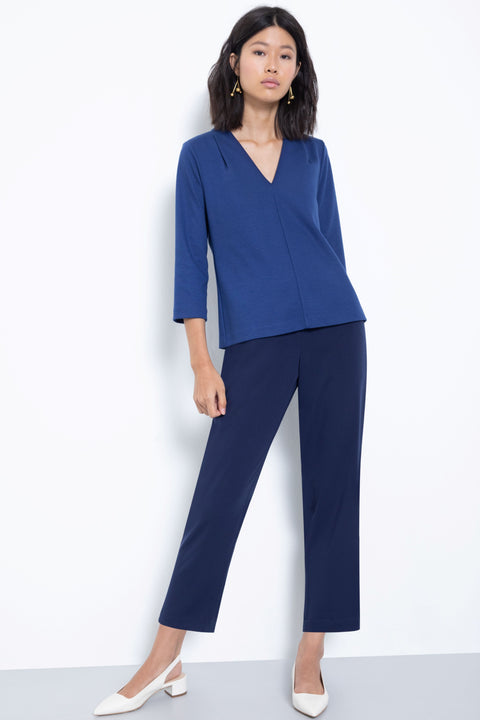 Comfortable pull-on relaxed slim leg pants - front view navy