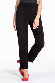 Comfortable pull-on relaxed slim leg pants - front view black