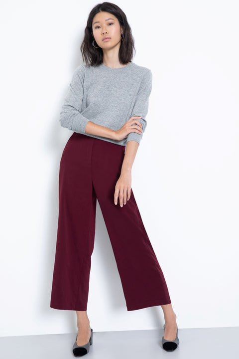 Comfortable pull-on stretch culotte pants - front view