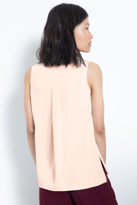 Silky sleeveless pleated V-neck blouse - back view