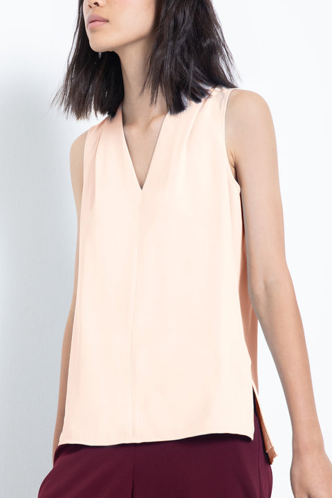 Silky sleeveless pleated V-neck blouse - front view 2
