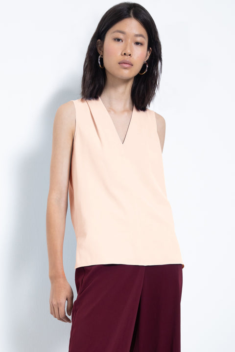 Silky sleeveless pleated V-neck blouse - front view