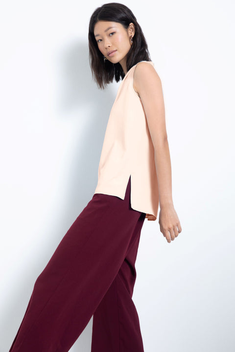 Silky sleeveless pleated V-neck blouse - side view