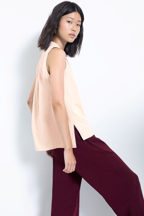 Silky sleeveless pleated V-neck blouse - back side view