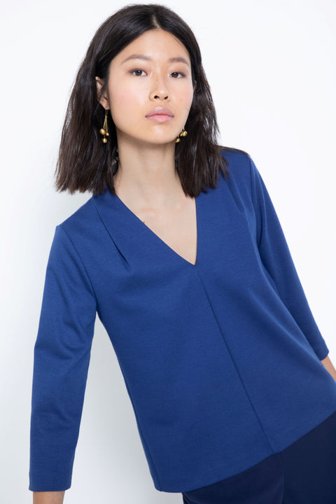 3/4-sleeve ponte v-neck blouse - front view 3
